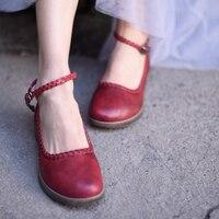 Artmu Original Vintage Genuine Leather Hand Woven Women Shoes Art Shallow Mouth Buckle Flat Handmade Shoes