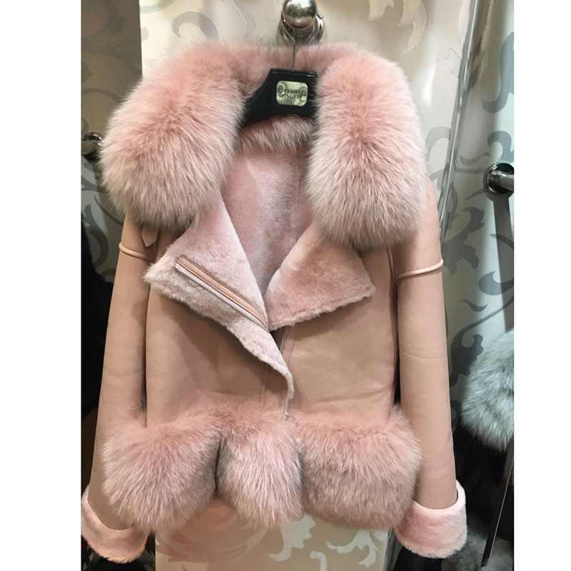 Российские зимние женские пальто из натурального меха с воротником из натурального Лисьего меха, куртка из подлинной овчины из овечьей шерсти внутри лисьего меха