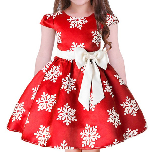 Red Girls Dress Fancy Kids Christmas Dresses Flower Children Wedding