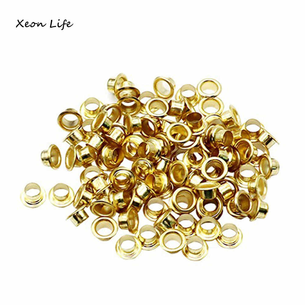 100 Pcs Titanium Eyelets Washer Leather DIY Shoes Cloth Craft Repair Grommet