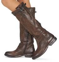 Коричневые сапоги до колена с закругленным носком в западном стиле женская обувь из натуральной кожи на не сужающемся книзу массивном кабл