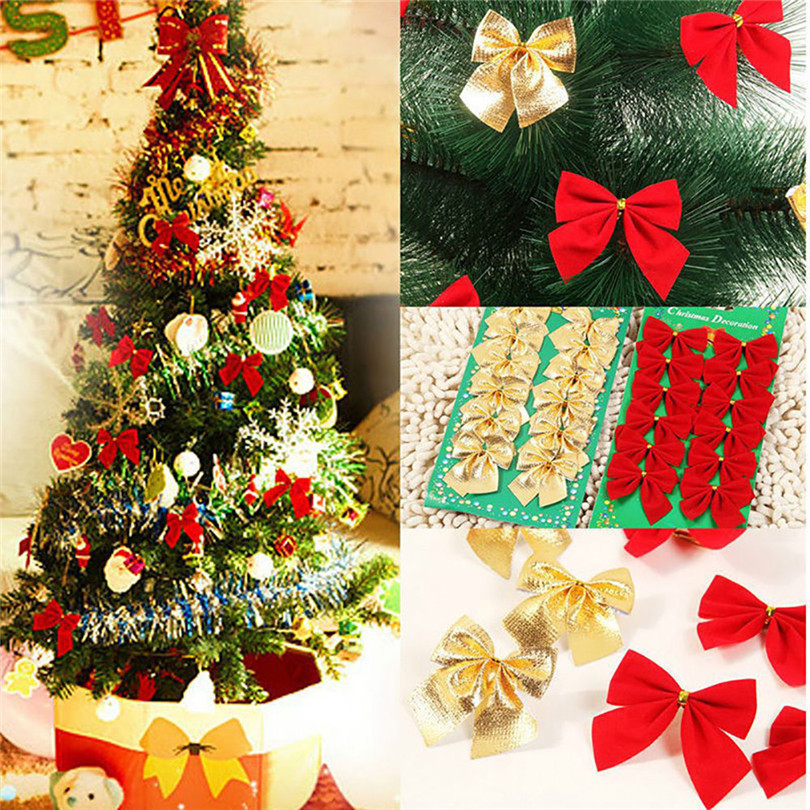 12PCS Pretty Bow Xmas Ornament Christmas Tree Decoration Festival Party Home Bowknots Baubles Baubles New Year Decoration07