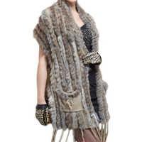 女性の長い毛皮のベスト2018春ニットノースリーブプラスサイズのベスト女性のチョッキ女性ロングベスト毛皮coleteプレトfeminio