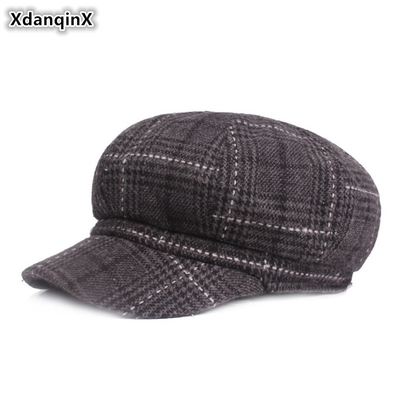 XdanqinX Women's Cap Autumn And Winter Thick Warm Newsboy Caps Elegant Fashion Painter Hats For Women Brand Female Winter Hat