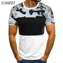 E-BAIHUI new Men T-Shirt Slim Casual Fit Short Sleeve Camouflage Pocket Blouse Top t shirt men camisetas hombre tshirt CG005