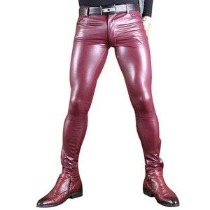 Image 1 - סקסי גברים פו עור Pu מט מבריק אופנה מכנסיים תפקיד גברים X רך סקיני הומו מכנסיים רוכסן פתוח מכנסי עיפרון הומו ללבוש FX130