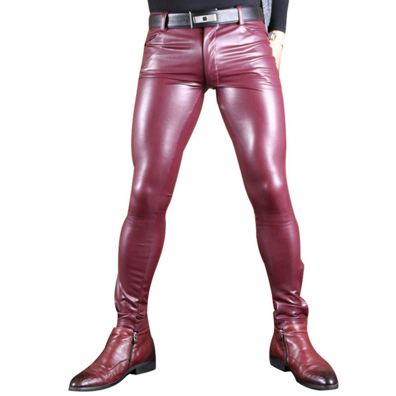 Sexy Men Faux Leather Pu Matte Shiny Fashion Pants Role Men X Soft Skinny Gay Pants Zipper Open Pencil Pants Gay Wear FX130-in Casual Pants from Men's Clothing    1