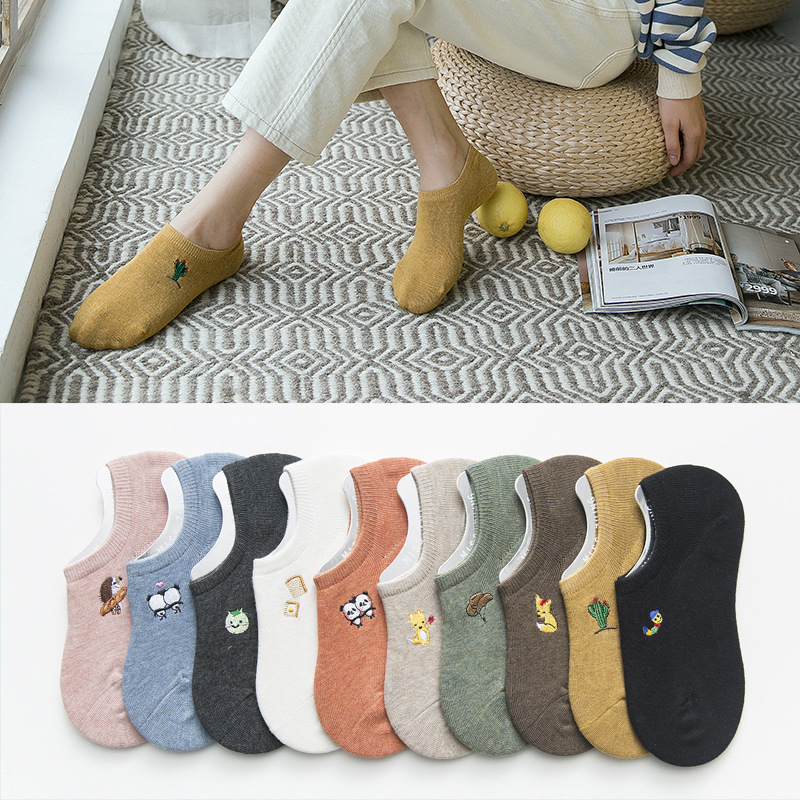 Women Socks 2019 New Fashion Spring 5pair Short Style Cotton Solid Cute Print Invisible Cartoon Woman Fashion Ankle Socks Women
