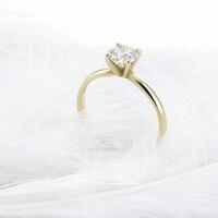 Solid 14 К желтого золота круглой бриллиантовой огранки 0,5 КТ муассанит 4 зубец кольцо Solarite Lab АЛМАЗ Обручение кольцо для для женщин