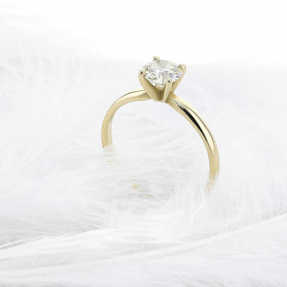 Solid 14K Yellow Gold Round Brilliant Cut 0.5 ct Moissanite