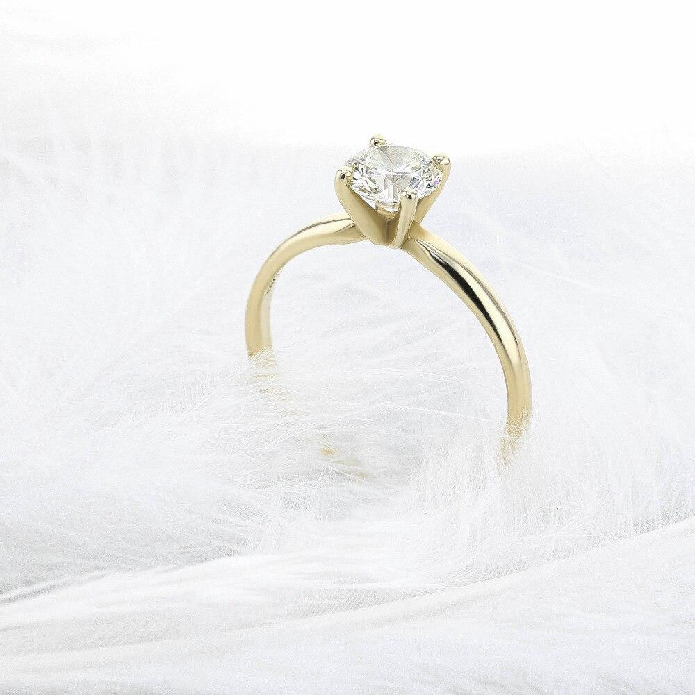 Solido 14 k Oro Giallo Taglio Brillante Rotondo 0.5 ct Moissanite 4 Prong Anello Solarite Lab Diamante Anello di Fidanzamento Per delle donne