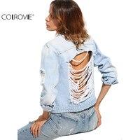 COLROVIE 여성의 긴 소매 캐주얼 코트 블루 버튼 찢어진 다시 옷깃 포켓 싱글 브레스트 섹시한 데님 재킷