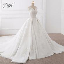 Fmogl vestido de noiva v 넥 레이스 빈티지 웨딩 드레스 2019 우아한 아플리케 로얄 트레인 tulle bride gowns plus size