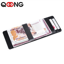 QOONG Top Genuine Leather Card Holder Wallet Men Brand Business ID Credit Card Case Fashion Cow Leather Card Purse With Clip kavis brand cow genuine leather credit card holder 14 card slots men women business card purse id wallet travel for credit cards