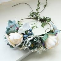 Women Flower Wreath For Girl Wedding Bridal Artificial Flower Crown Headband Tiara Hair Floral Hair Band