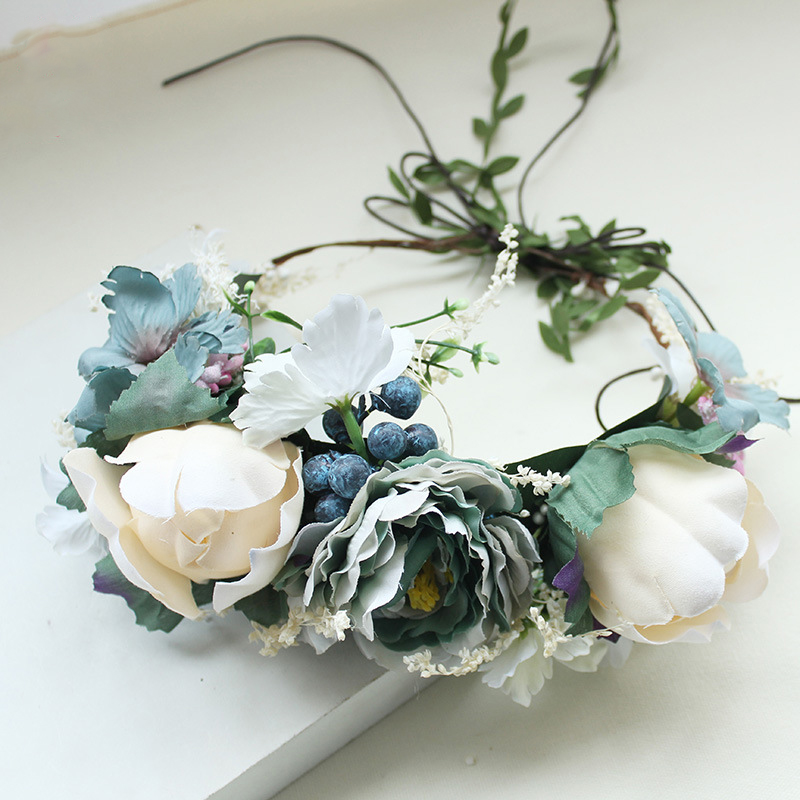 купить Women Flower Wreath for Girl Wedding Bridal Artificial Flower Crown Headband Tiara Hair Floral Hair band Hair accessories в интернет-магазине
