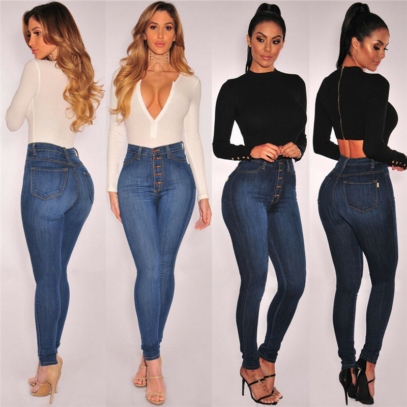 2019 New Fashion Women Stretch High Waist Jeggings Denim Jeans Skinny Slim Pants Plus Size Trousers Pencil Pants
