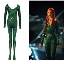 Mera New Women Movie Aquaman Mera Queen Cosplay Costume Zentai Bodysuit Suit Jumpsuits Queen BOOCRE