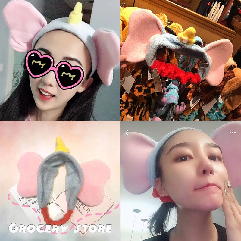 Kawai Girl Fly Elephant Dumbo Cartoon Head Band Hair Hoop Short Plush With Ear Hair Decoration Lovely Toy