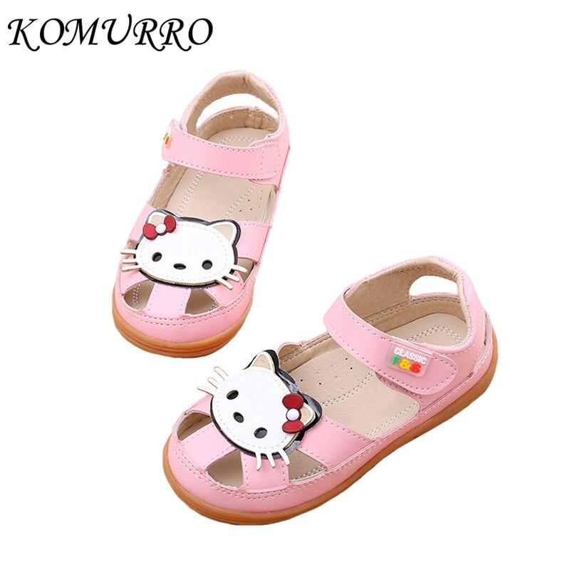 Letnie dziecięce sandały dla dziewczynki Śliczne kotki Skórzane - Obuwie dziecięce - Zdjęcie 1