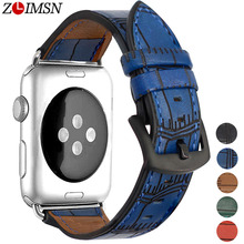 ZLIMSN Genuine Leather Strap Applicable Pin Buckle Black Blue Brown Red Green 42mm 38mm For Apple Watch Series 4 3 2 1 iWatch