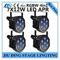 4 шт./7X12 W led Par свет RGBW 4in1 плоским пар led dmx512 диско свет профессиональный ди-джей оборудование 100% новый