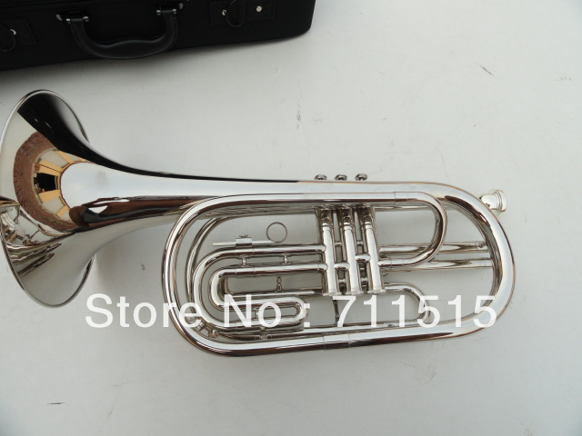 Silvering Plated Marching Baritone Horn Brass Bb Baritone Brass Music Instrument with Mouthpiece & Nylon Case silver plated double french horn f bb 4 key brand new with case
