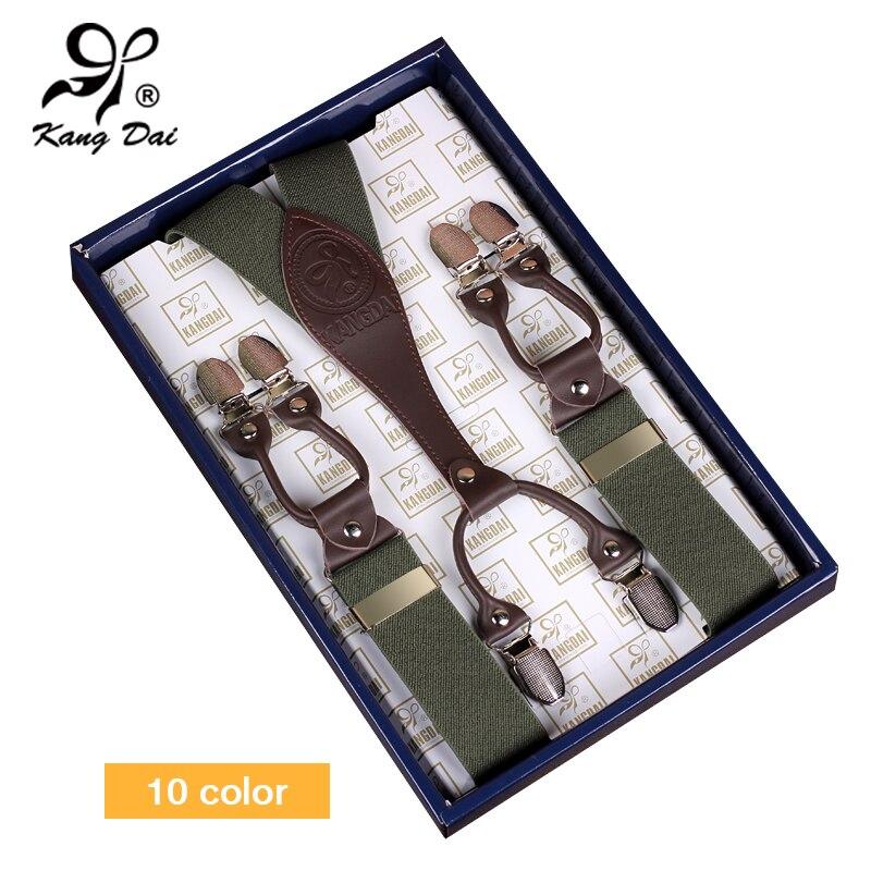 KANGDAI 2017 Men Suspenders Wide Adjustable Leather Pants Brace Alloy 6Clips Male Casual Elastic Suspender Strap BraceMF604