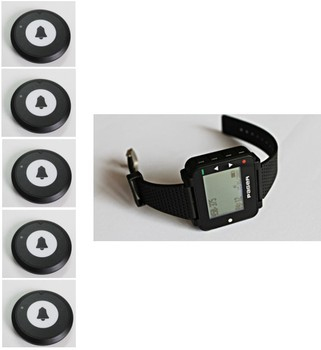 Free shipping! Pocsag watch pager, 5pc service button,wireless bell system, restaurant waiter paging system, hospital nurse call