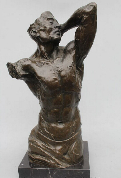 "wholesale factory 14""Western Art Sculpture Bronze Marble Venus de Milo Men Statue"