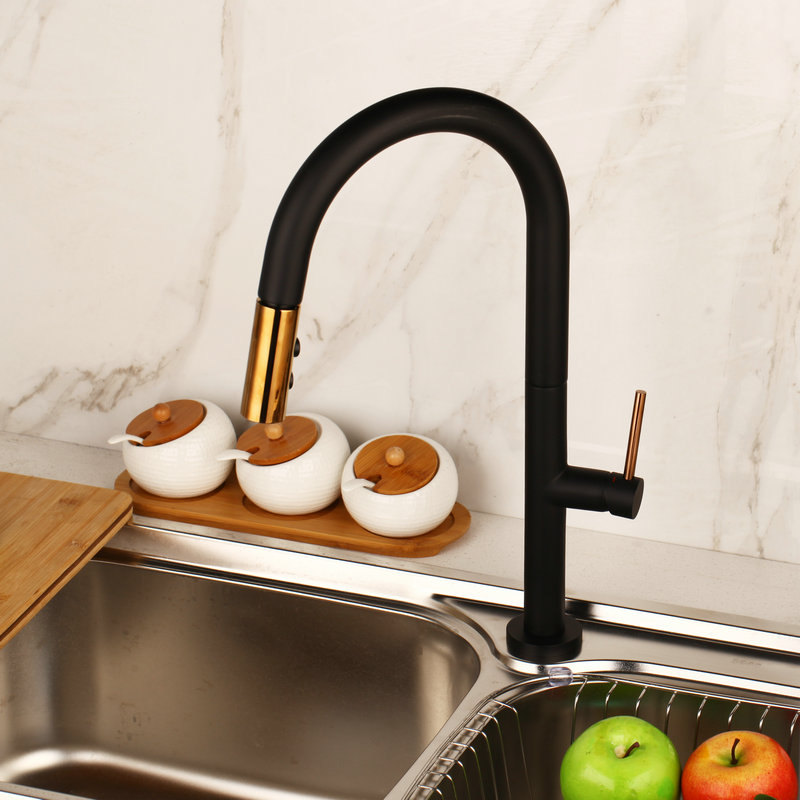 Kitchen Faucet 360 Swivel Pull Out 2 Ways Spray Solid Brass Kitchen Basin Sink Faucet Black White Water Mixer Taps Faucets