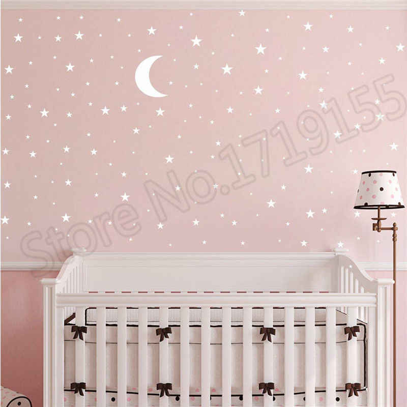 Moon And Stars Wall Decal Good Night Nursery Wall Decor Vinyl Sticker Picture Pattern For Kids Boy Girls Baby Room Mural Zw118