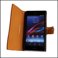 Wallet Cover Case For Sony Xperia Z1 Mobile Phone Top Genuine Flip Leather Shell Cover For