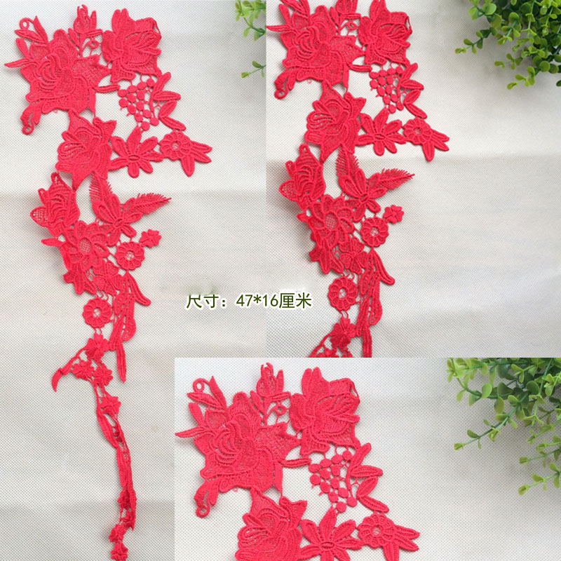 10Pieces Large Red Off White Lace Appliques Flower Collars Corsage Decor Patches Embroidery Jewelry AIWUJIA