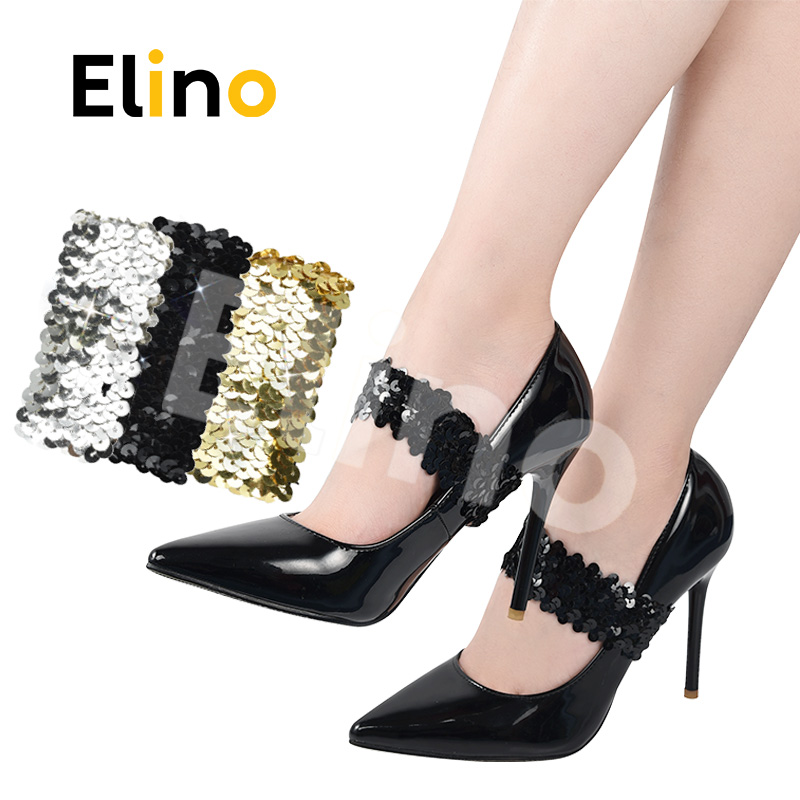 Elino Fashion Elastic Shoelaces Women Anti-loose Lace Fabric Shoe String Straps For High Heel  Leather Shoes Wholesale Drop-ship