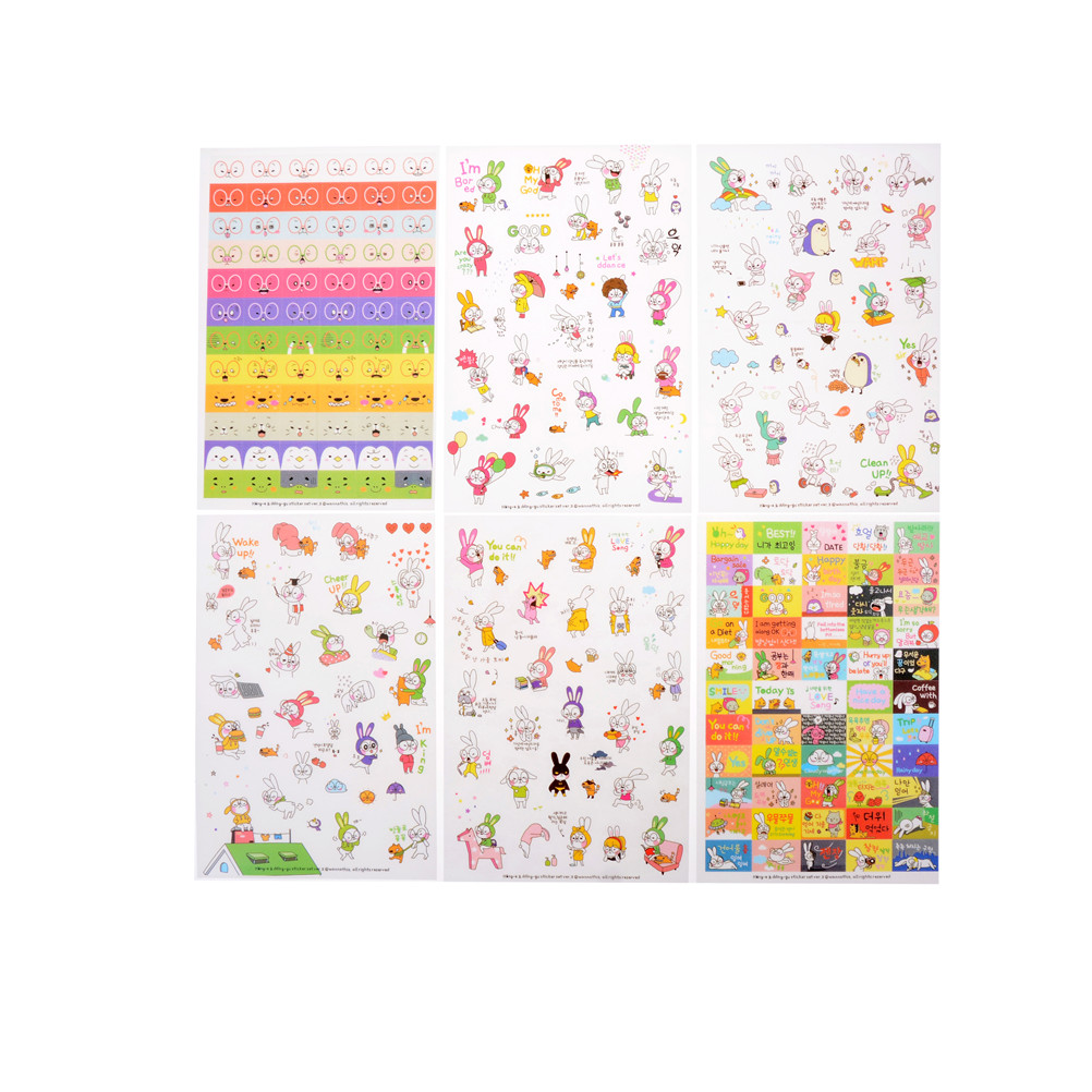 Stationery Stickers Intellective 6 Sheets/set Rabbit Book Sticker For Diary Scrapbook Calendar Notebook Label Mobile Phone Decoration Baby Girl Toys Utmost In Convenience