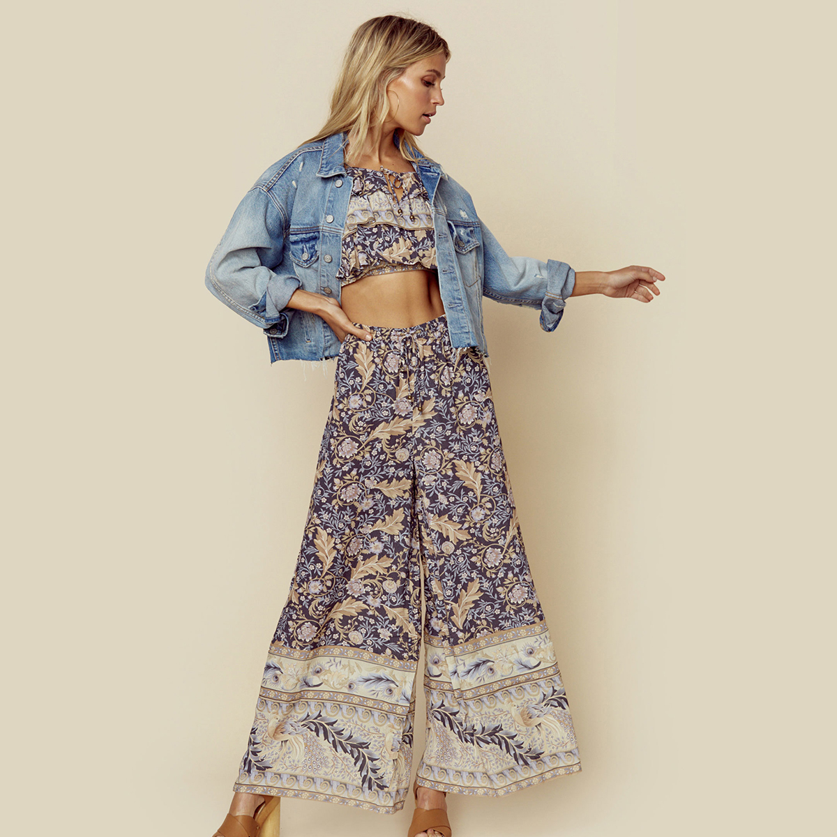 Oasis Black Floral Maxi   Pants   Women 2019 Summer High Waist Retro Boho   Wide     Leg     Pants   Ladies Vintage Bohemian Beach Long Trousers