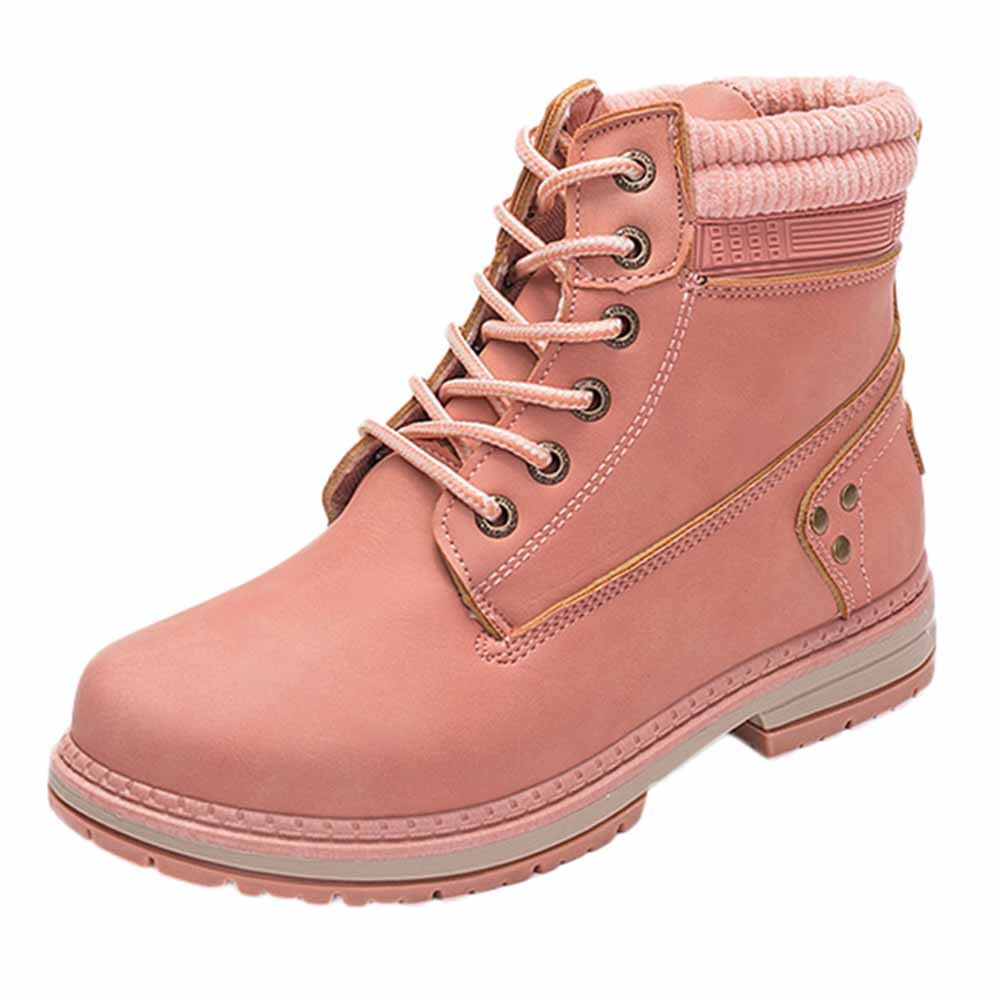 Women Boots Solid Lace Up Casual Ankle Boots Round Toe Shoes Student Snow Boots Classic Winter Warm Ladies Shoes T## 7
