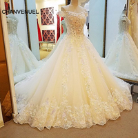 LS56375 champagne wedding gowns ball gown lace up back back colorful lace flowers wedding dresses robe de mariage real photos