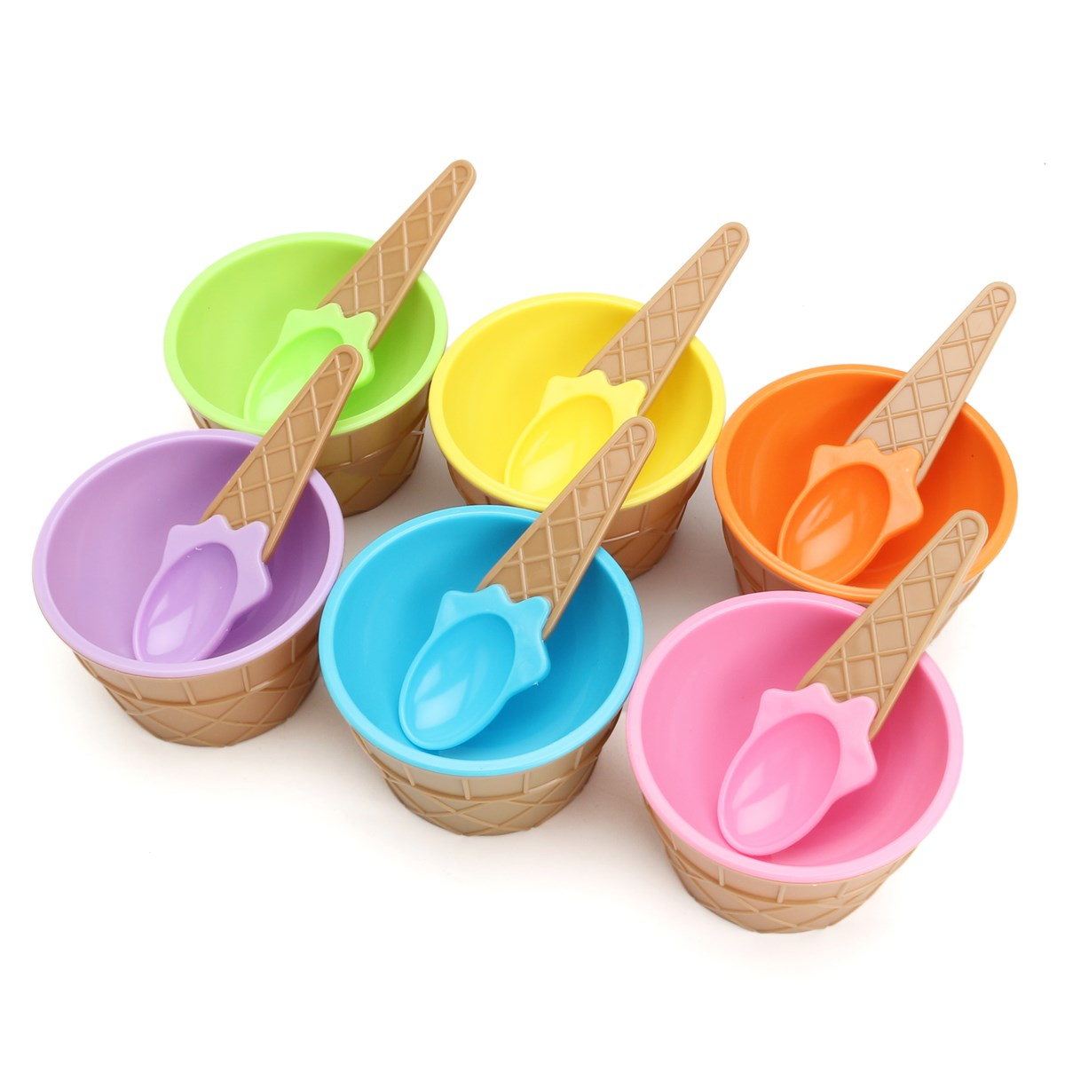 Grande Plastic Ice Cream Bowls Spoons Set Colorful Ice Cream Cupdessert Bowl Home Kitchen Diy Ice Cream Decorating Ice Creamscoops Stacks Plastic Ice Cream Bowls Spoons Set Colorful Ice Cream Cup nice food Ice Cream Bowls