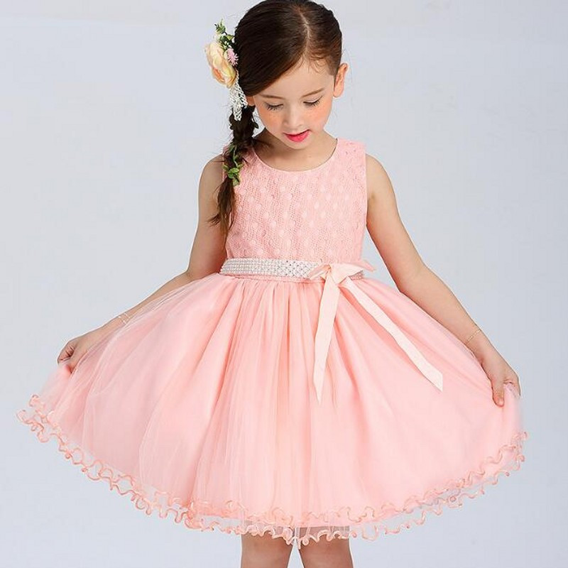 2018 Pink Kids Tulle Flower Girls Dress Princess Pageant Wedding Bridesmaid Birthday Party Dress Ball Gown 2- 14 Years new flowers girl tutu dress birthday party princess dress baby girls pink ball gown for kids wedding bridesmaid tulle dresses