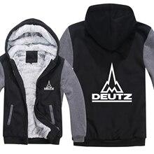 Зимние мужские толстовки с капюшоном Deutz Fahr, пальто на молнии, флисовая утепленная толстовка Deutz Fahr, пуловер с трактором