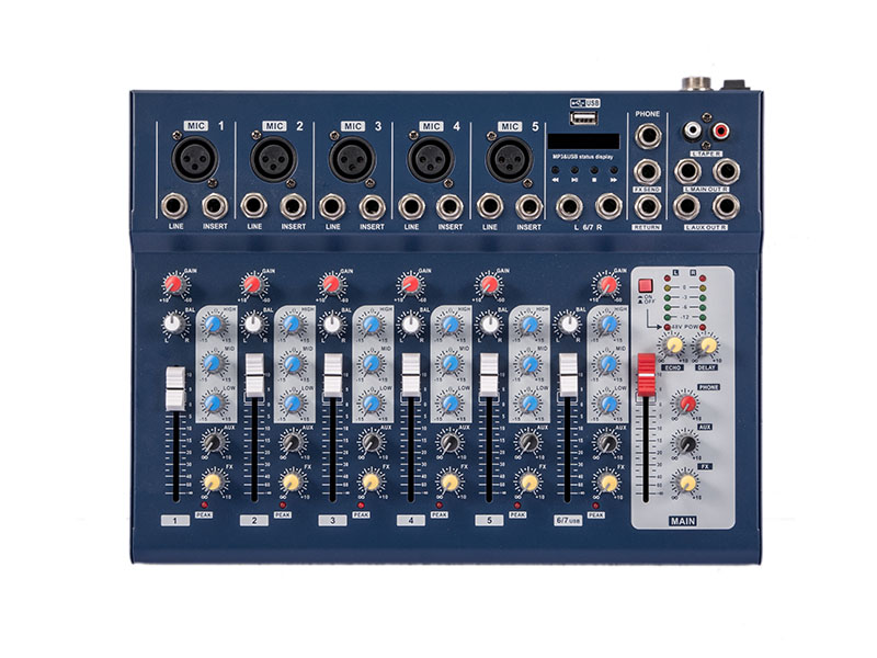 Buy new f7 usb led 7 channel mixing console equipment professional audio dj - Professional mixing console ...