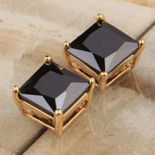 Fabulous Square Shape Gems Black Zircon Gold Filled Studs Earring Woman's Jewelry S5533(China)