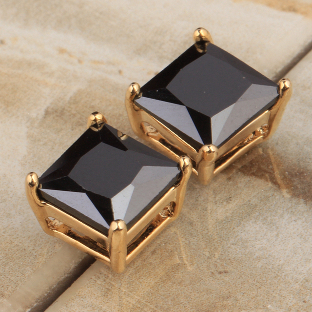 square vintage shaped earrings hoop gold