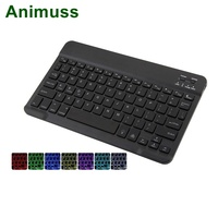 Animuss Universal 7 Colors Backlit Mini Wireless Bluetooth Keyboard For Tablet Laptop PC Smartphone Support IOS Android Windows
