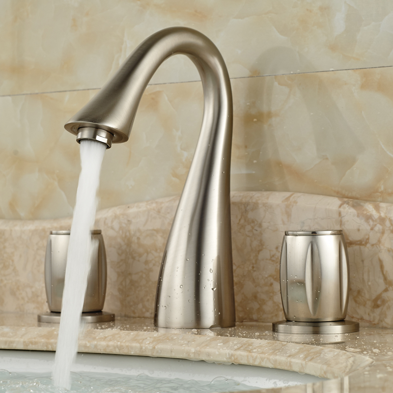 Modern Goose Neck Basin Faucet Brushed Nickel Double Handles Bathroom Mixer Taps Deck Mount