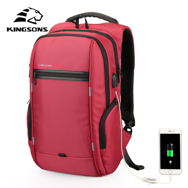 "Kingsons Brand 15.6"" Men Laptop Backpack External USB Charge Antitheft  Computer Backpacks Male Waterproof Bags"