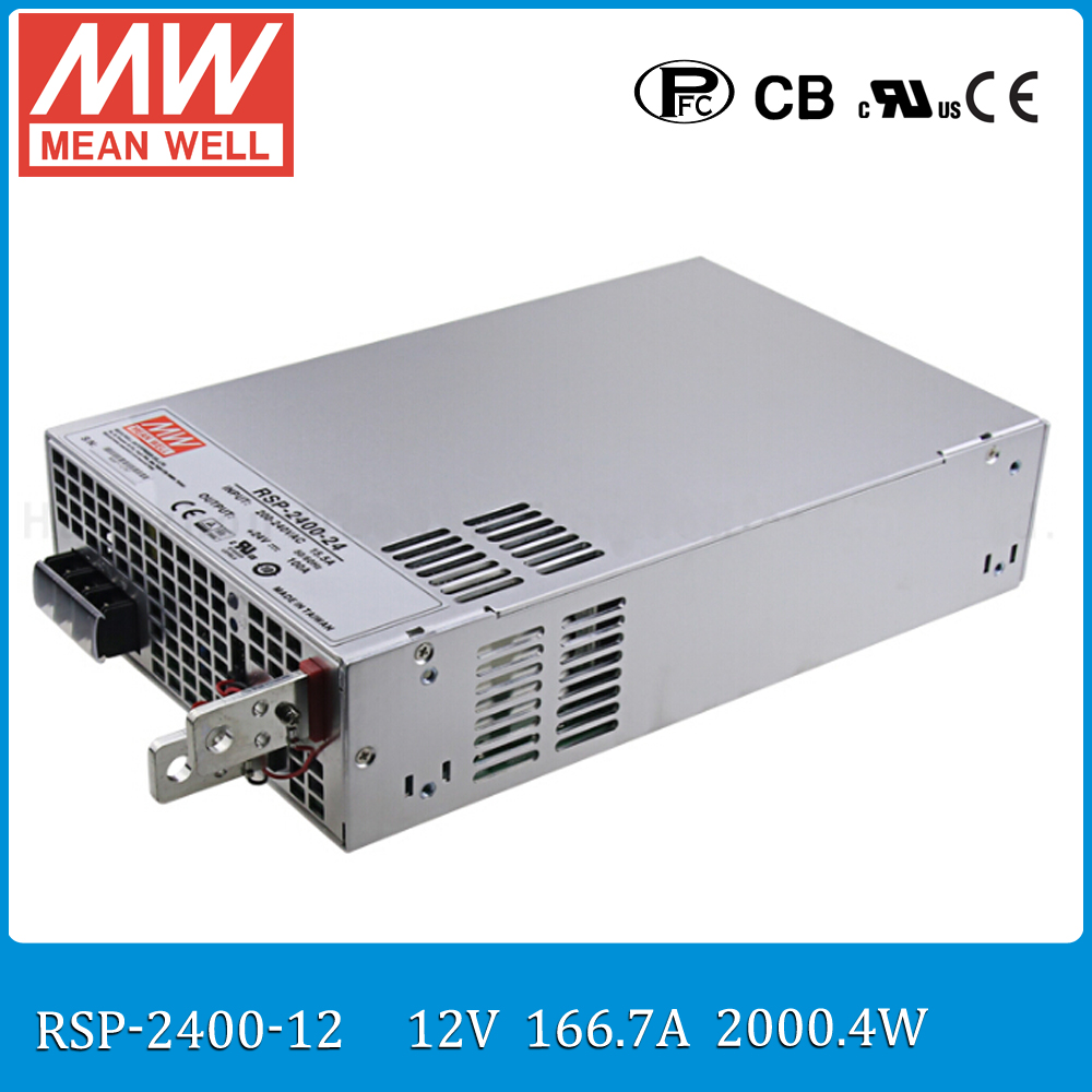 Original MEAN WELL RSP-2400-12 2000W 160A 12V voltage trimmable meanwell Power Supply 12V 2000W with PFC in Parallel connection original mean well rsp 2400 12 2000w 160a 12v voltage trimmable meanwell power supply 12v 2000w with pfc in parallel connection