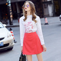 Women's Spring Skirts Suits Young Embroidery Simple Letters White Shirts And A Line Skirts 2 Piece Clothing Set Suits NS615